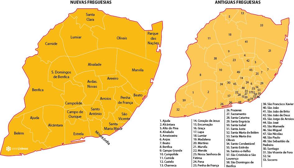 Mapa de las nuevas freguesias de Lisboa, realizado por Juan José Cholbi para sieteLisboas.