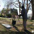 Fotografía del pintor japonés Minoru Nagashima, tomada en el Jardín do Torel, por sieteLisboas.