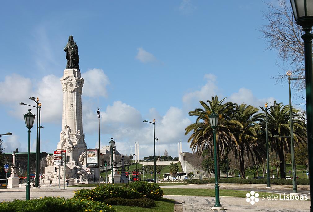 Fotografía del Parque Eduardo VII tomada desde la 'Praça do Marquês de Pombal' por sieteLisboas.