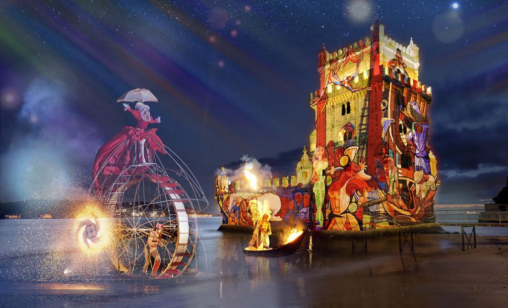 Imagen del espectáculo de apertura de las 'FestasLisboa'15' cedida por la EGEAC.